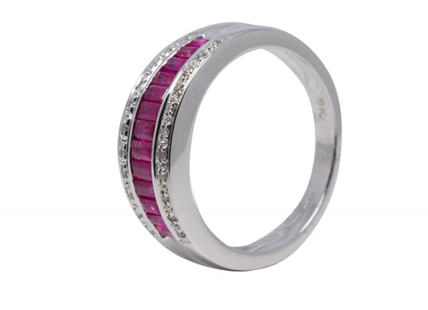 9ct white gold Ruby & Diamond Ring-0