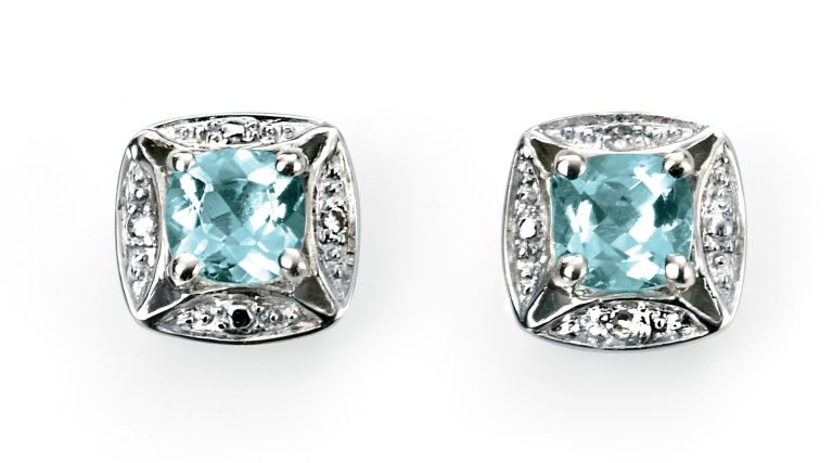 Aquamarine & Diamond Earrings-0