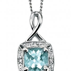 Aquamarine & Diamond Pendant & Chain-0