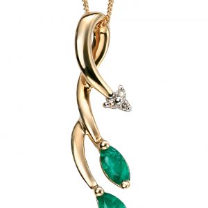 Emerald & Diamond Pendant & Chain-0