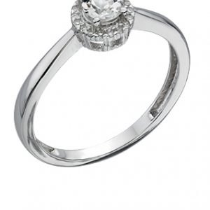 White Topaz & Diamond Ring-0