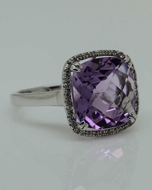 Amethyst & Diamond Ring-0
