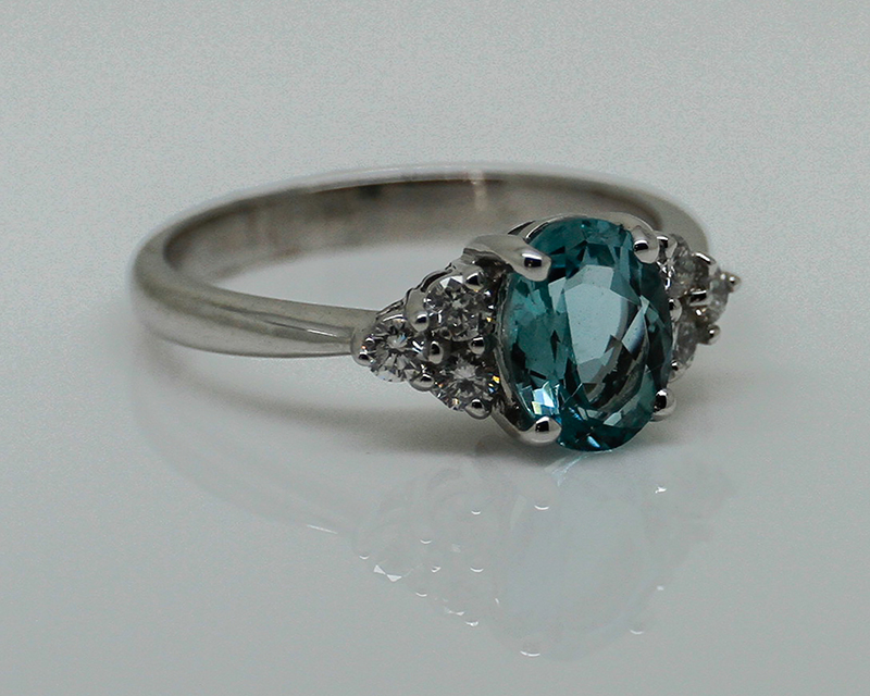 Aquamarine & Diamond Ring-0