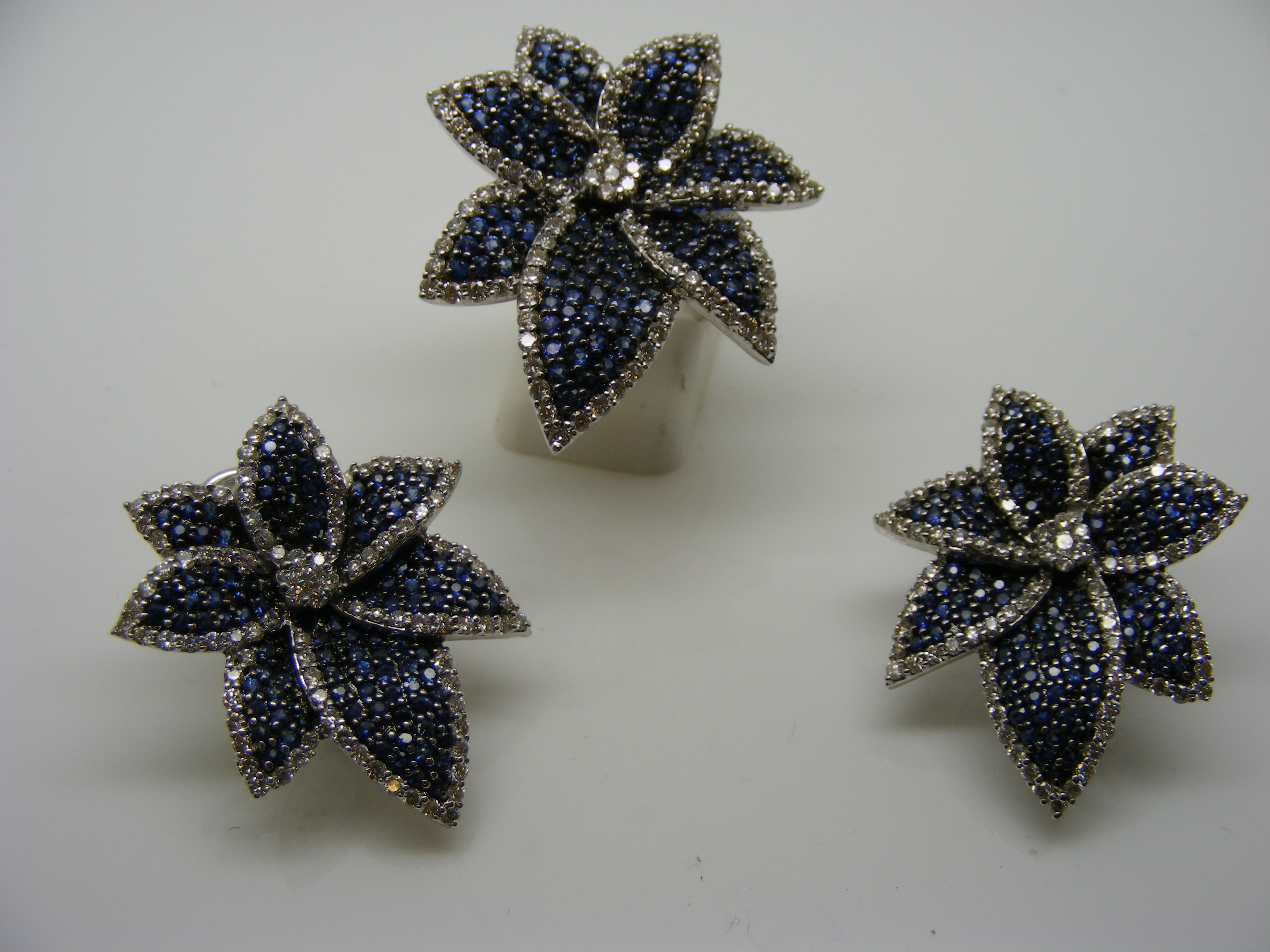 Sapphire & Diamond Leaf Ring and Earrings Set-0